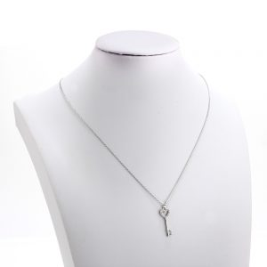 AGN0048 - Sparkling Silver Plated Crystal Key Pendant Necklace