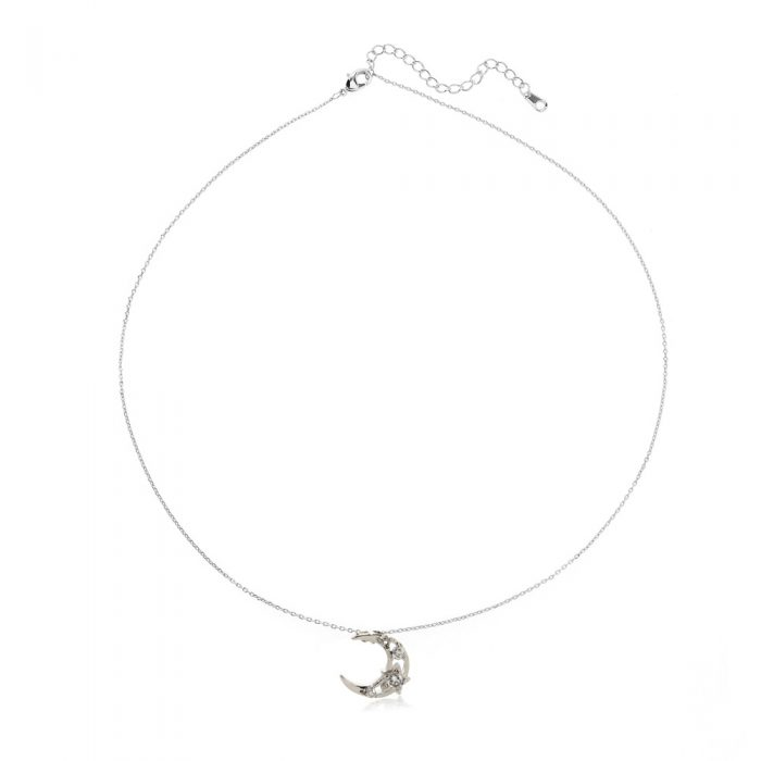 AGN0050 - Silver Sparkling Crystal Moon Necklace