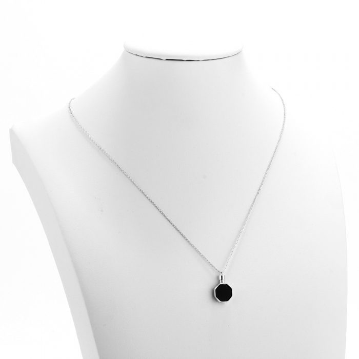 AGN0052 - Silver Crystal Black Stone Tower Necklace