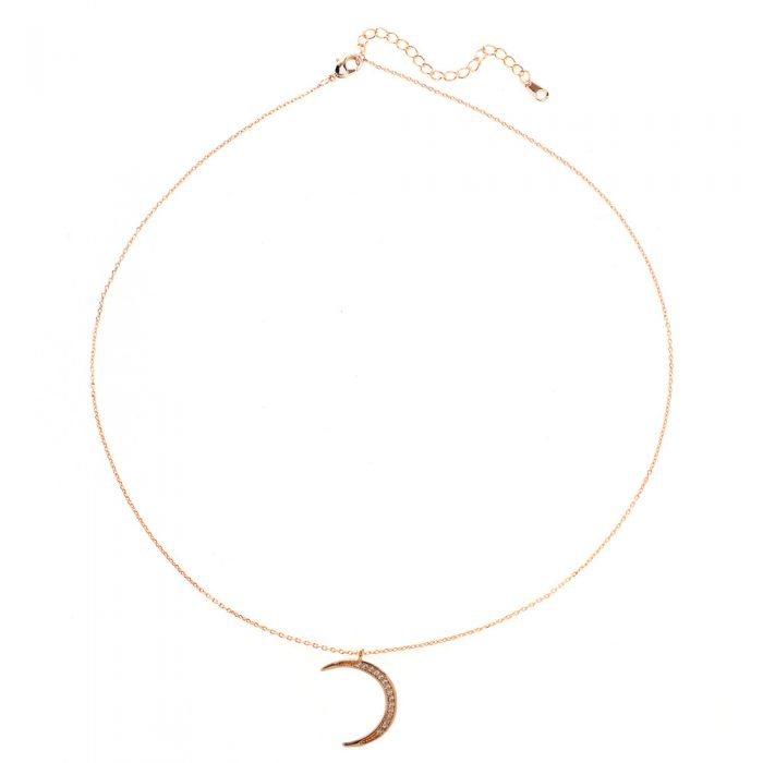 AGN0054 - Gold Sparkling Crystal Moon Necklace