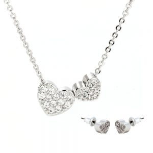 AGNE014 - Silver Two Hearts Necklace & Earrings Jewelry Set