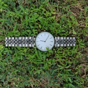 SAW16 - Silver Watch with White Dial, Diamante & Stainless Steel Strap