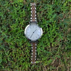 SAW03 - Silver and Rose Gold Watch with White Dial, Diamante & Stainless Steel Strap