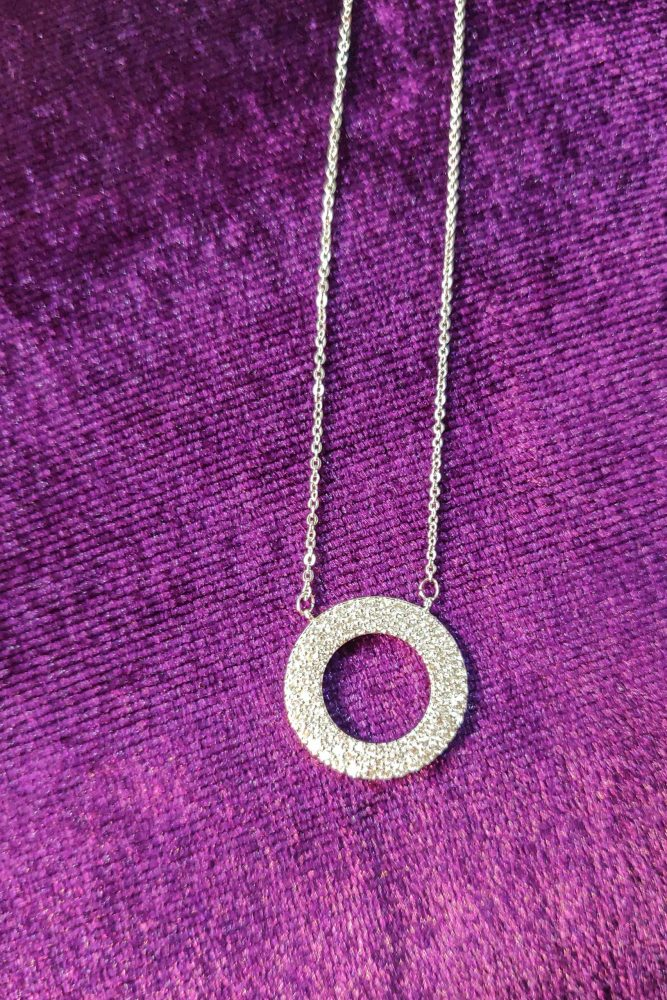 AGNE012 - Silver Plated Circle Necklace & Earrings Jewelry Set