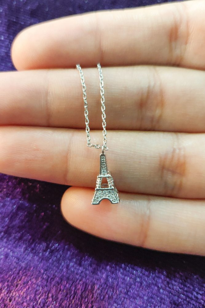 AGN0053 - Silver Sparkling Crystal Eiffel Tower Necklace