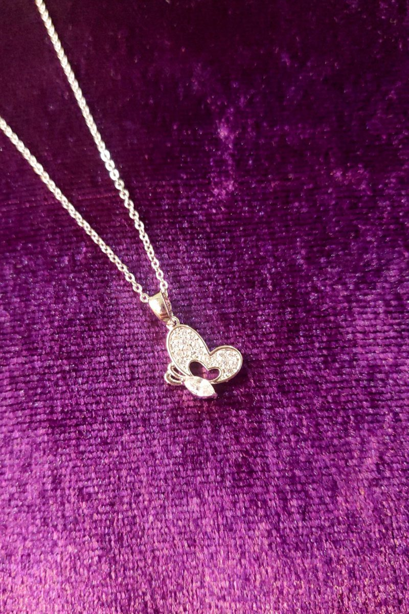 AGN0034 - Silver Plated Crystal Butterfly Necklace