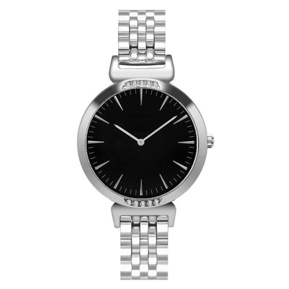 SAW04 - Silver Watch with Black Dial, Diamante & Stainless Steel Strap