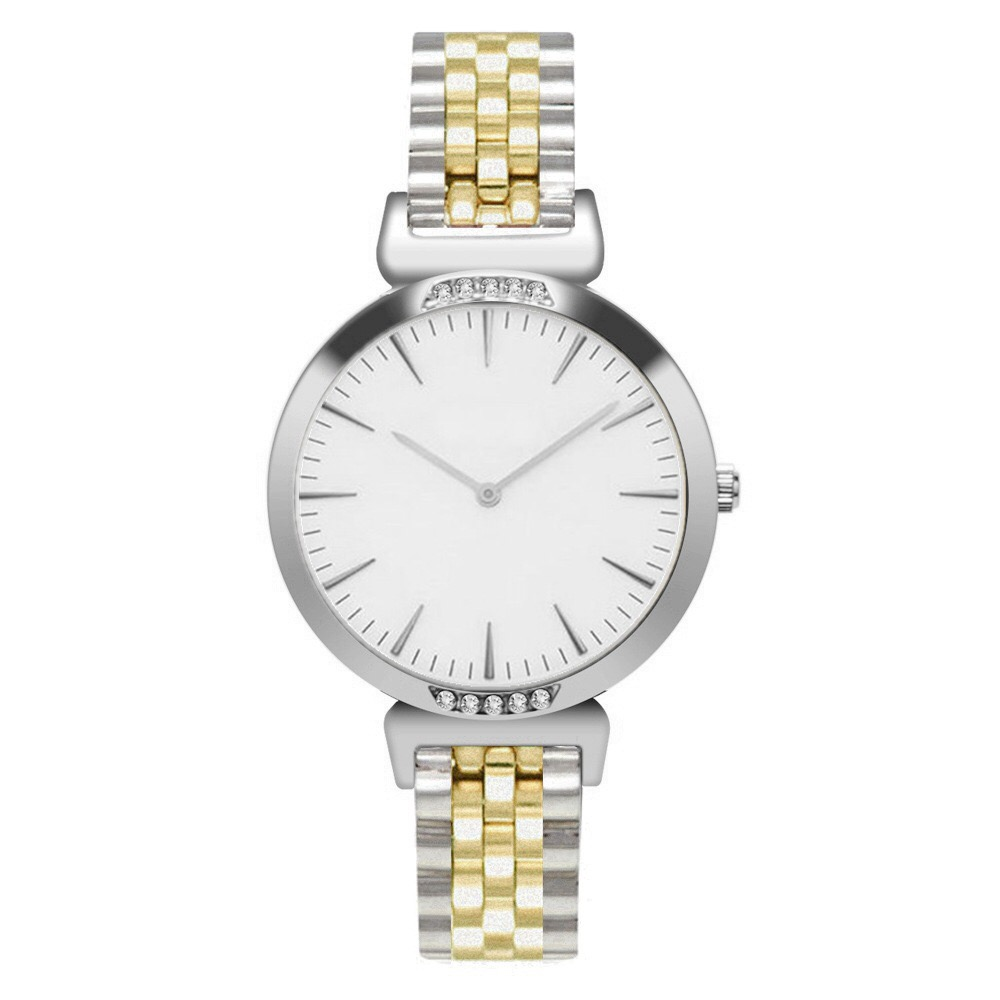 SAW02 - Gold and Silver Watch with White Dial, Diamante & Stainless Steel Strap
