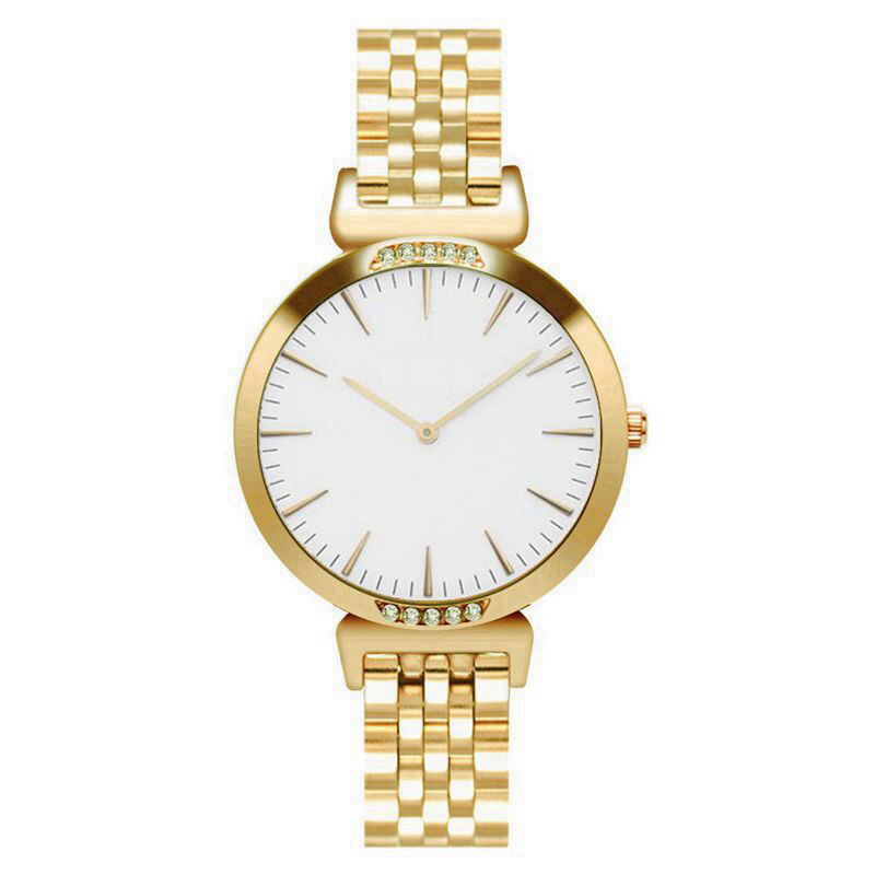 SAW01 - Gold Watch with White Dial, Diamante & Stainless Steel Strap