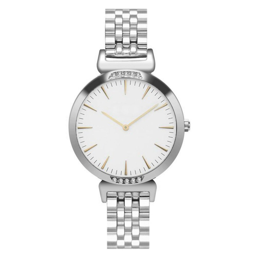 SAW08 - Silver Watch with White Dial, Diamante & Stainless Steel Strap