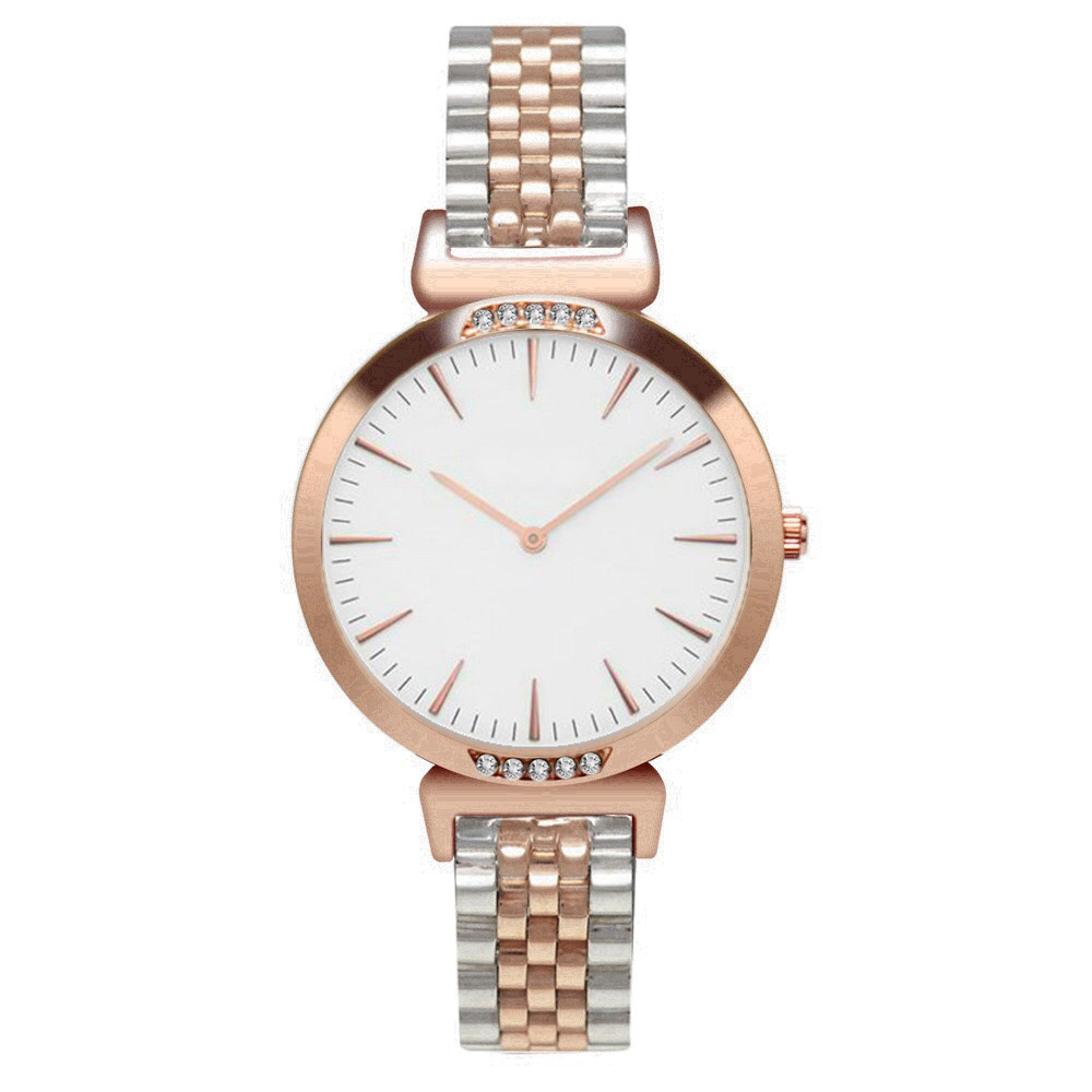 SAW07 - Rose Gold and Silver Watch with White Dial, Diamante & Stainless Steel Strap