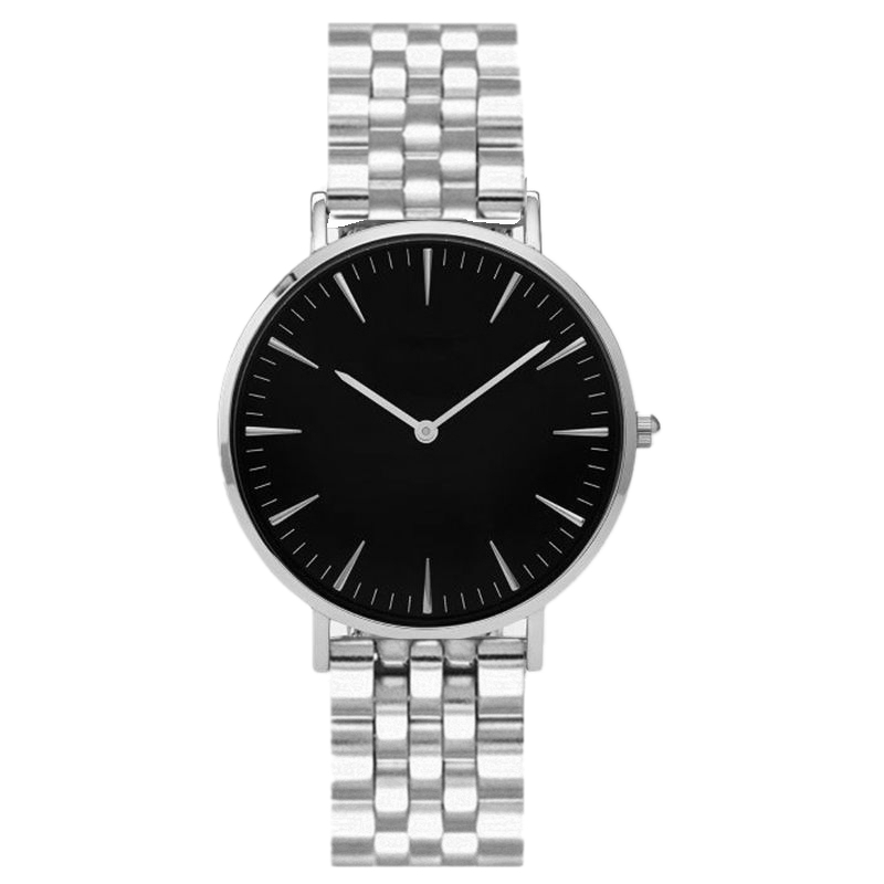 SAW15 - Silver Watch with Black Dial, Diamante & Stainless Steel Strap