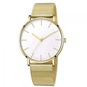 SAW19 - Gold Watch with White Dial, Diamante & Stainless Steel Strap