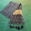 Block Print Crush Dupatta With Tassels Cotton Silk BlackGold