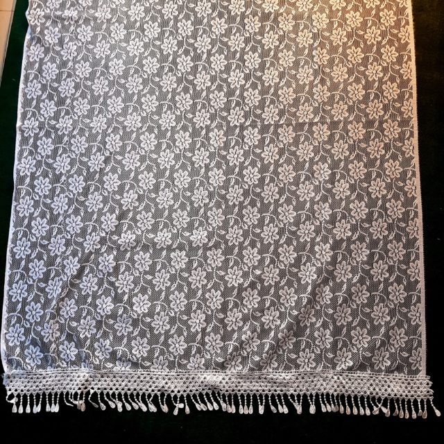 Net Dupatta Floral Large With Bottom Lace