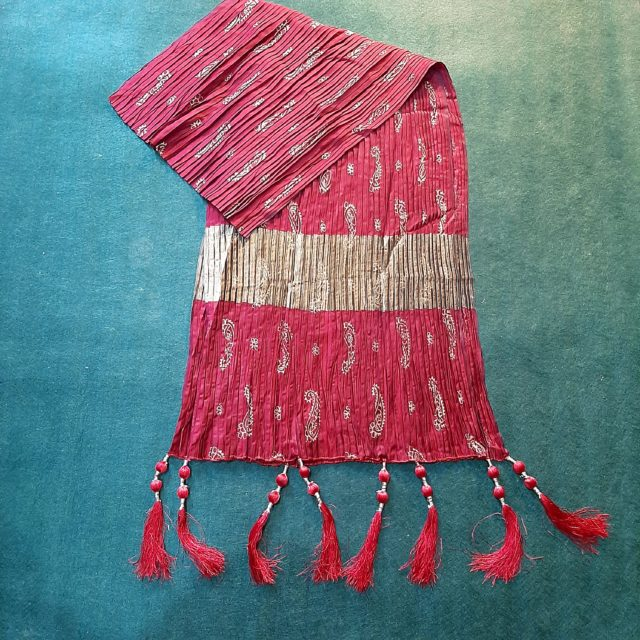 Block Print Crush Dupatta With Tassels Cotton Silk