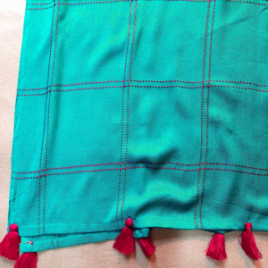 Check Pattern Stole Scarf For Wome Linen