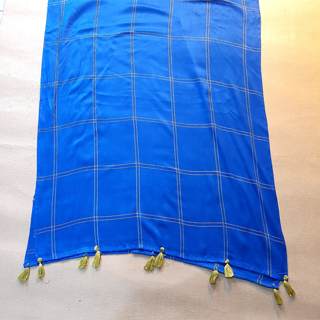 Check Pattern Stole Scarf For Women Linen Blue