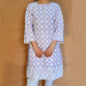 Embossed Cotton Kurti With Lace Lilac