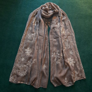 dark brown Embroided Stole Scarf For Ladies