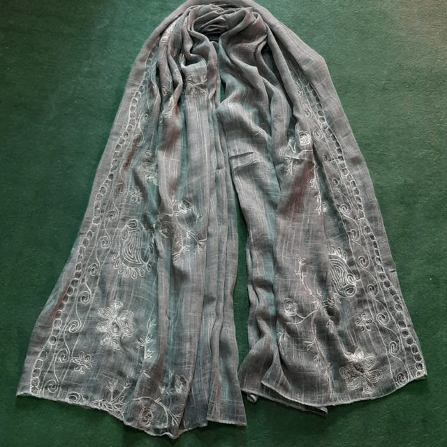 green Embroided Stole Scarf For Ladies
