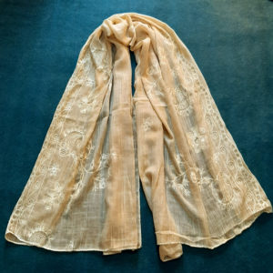 yellow Embroided Stole Scarf For Ladies