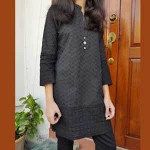 black chikan kurti for ladies