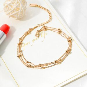 rose gold anklet for ladies