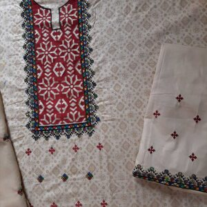 3 Piece - Unstitched - Embroided Cotton Dress
