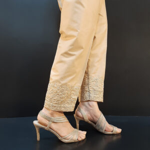 Embroided Cotton Trouser Beige