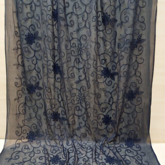 Embroided Chiffon Dupatta Black