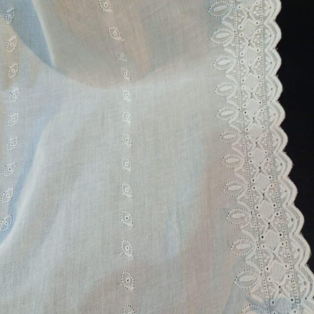 Embroided Lawn Chaddar Summer Shawl Large Dupatta white