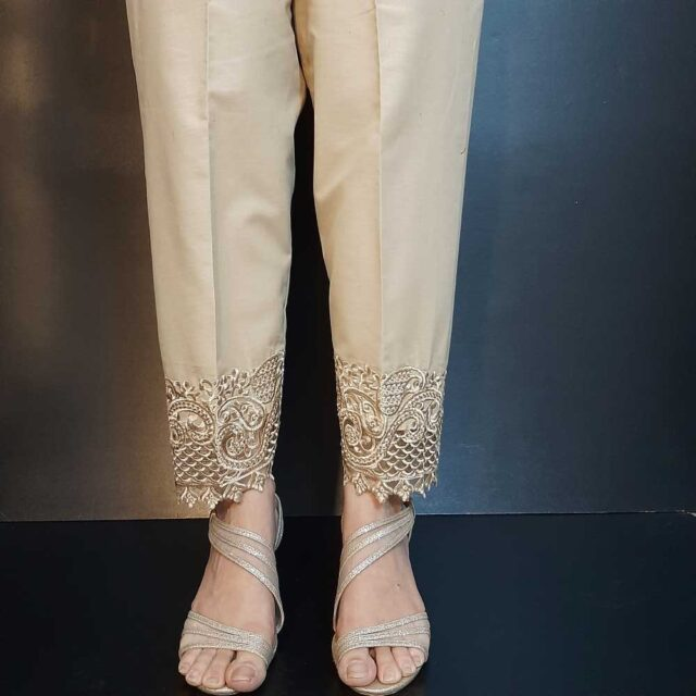 Embroided Trouser - Beig Cotton