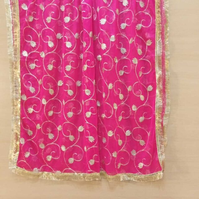 Gota Work Dupatta For Wedding Party Pink Net