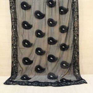 Embroided Net Dupatta Large Black