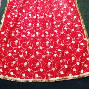 Gota Work Dupatta For Wedding Party - Red - Net