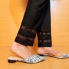 Laces Embelished Trouser Cotton Black