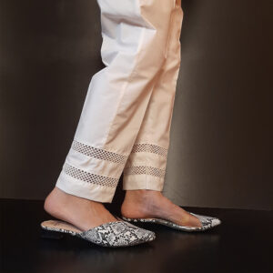 Laces Embelished Trouser Cotton White