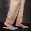 Mirror Work Embroided Cotton Trouser Beige