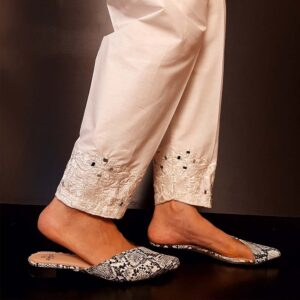 Mirror Work Embroided Cotton Trouser