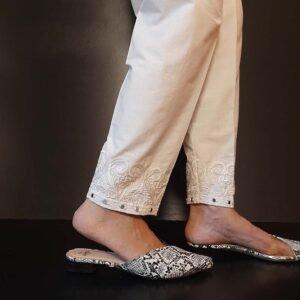 Mirror Work Embroided Cotton Trouser White