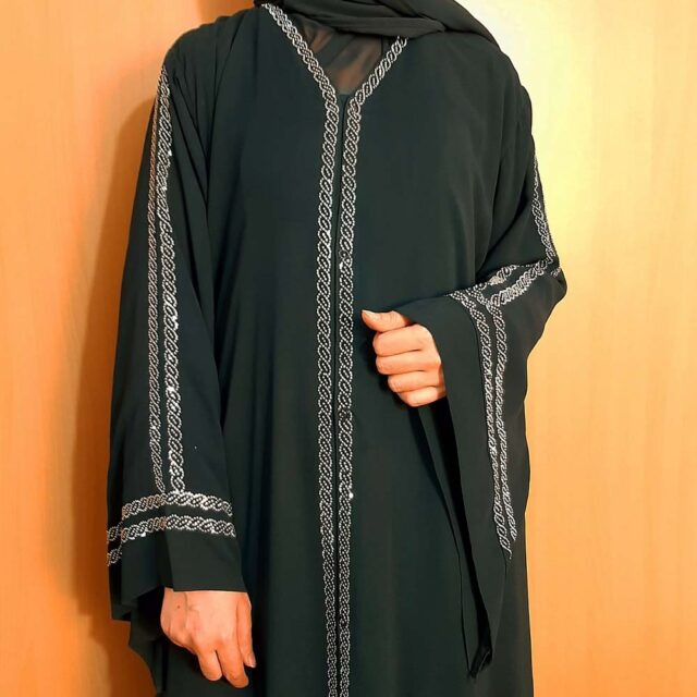 Beaded Fancy Abaya Double Georgette Fabric Green