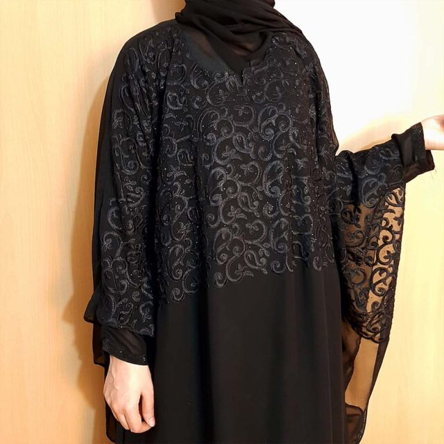 Embroided Butterfly Abaya Double Georgette Fabric Black