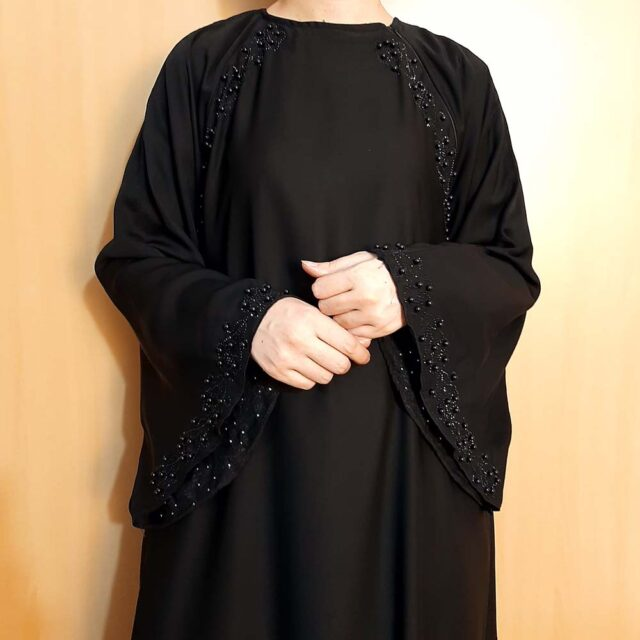 Beaded Fancy Abaya Nidah Fabric Black