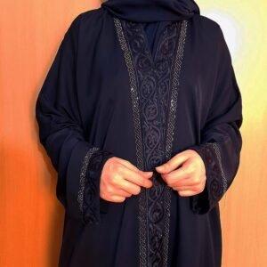 Embroided Abaya Nidah Fabric Front Open Navy