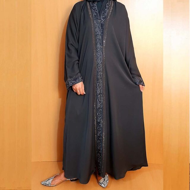 Embroided Abaya Nidah Fabric Front Open Grey