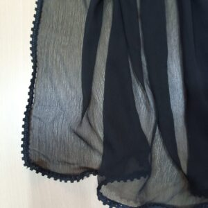 Chiffon Dupatta With 4 Sided Lace Large Black