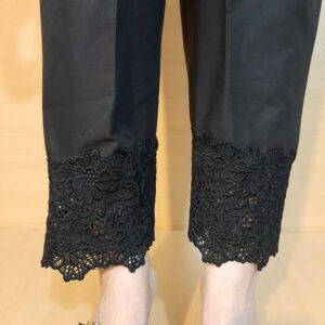 Cotton Trouser With Bottom Lace Black