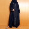 Embroided Abaya Nidah Fabric Front Open Navy