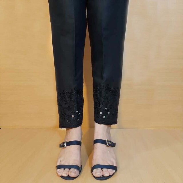 Embroided Cotton Trouser Black